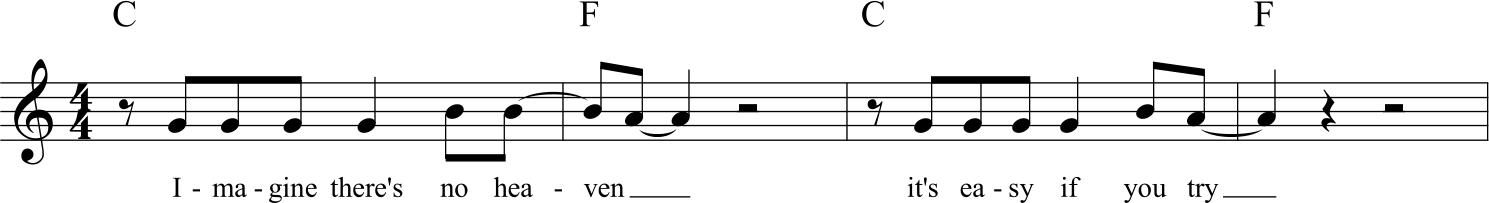 un esempio di pentagramma singolo con testo e sigle degli accordi
