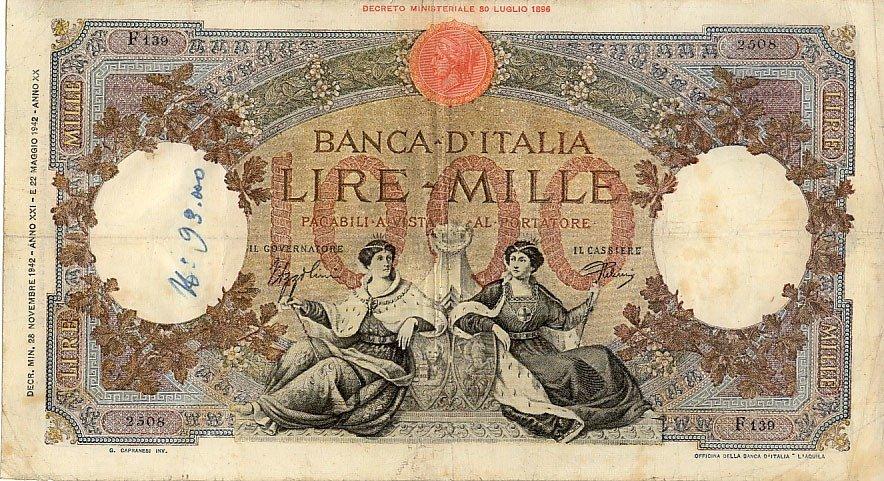 mille lire al mese, una banconota degli anni '40