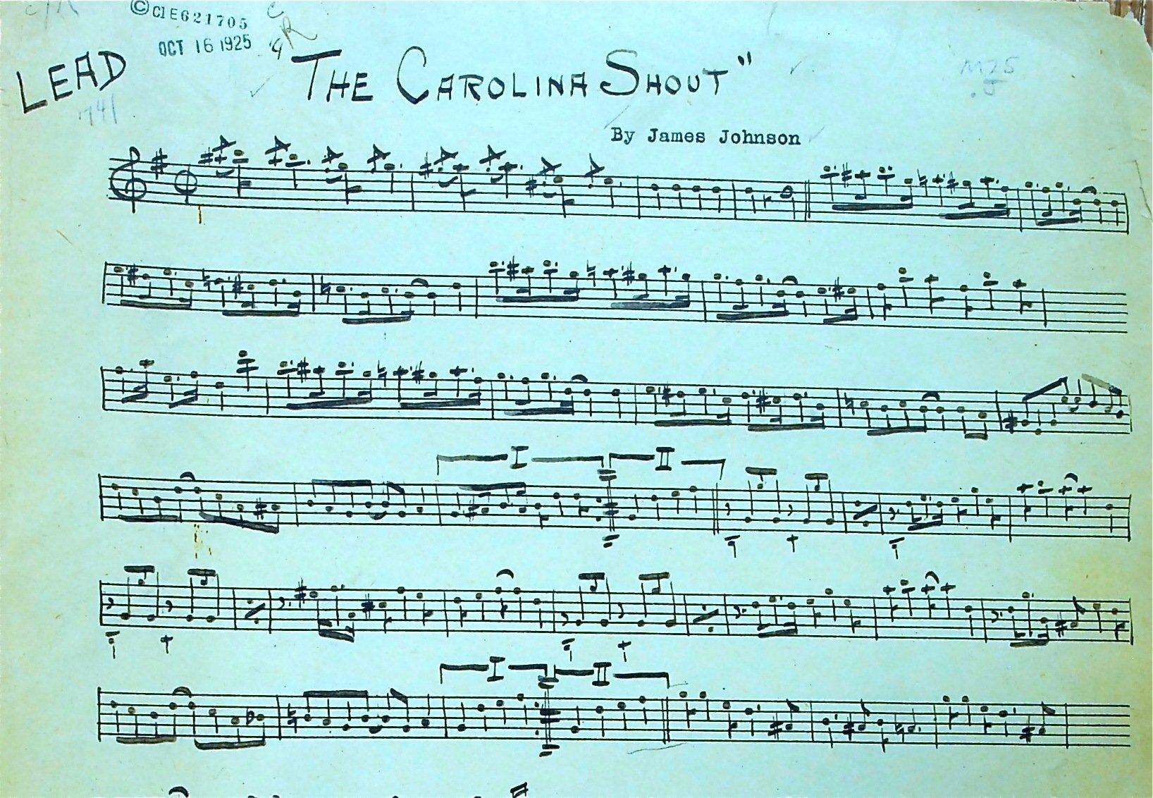 The carolina shout manoscritto originale
