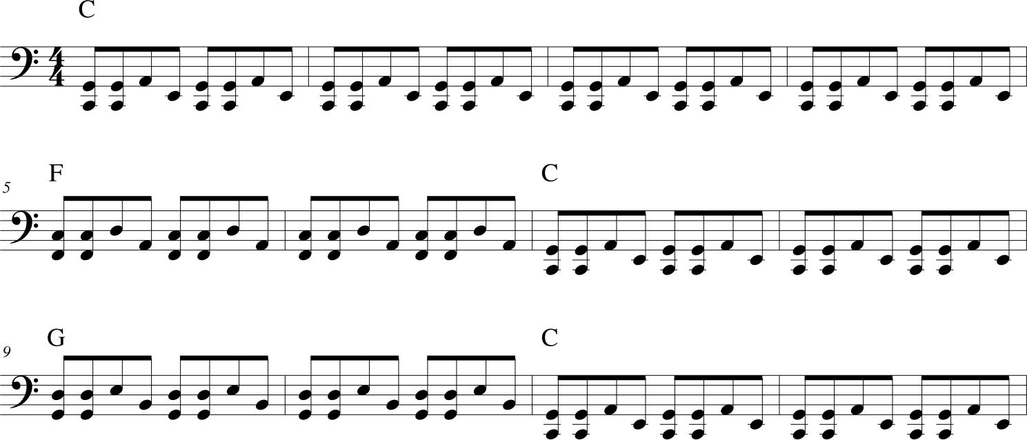 accompagnamento piano blues della mano sinistra
