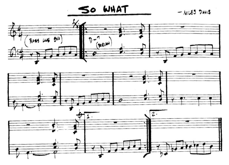 So What by Miles Davis is a typical modal jazz piece