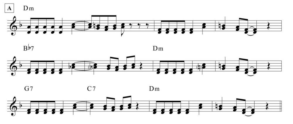 Gassmann blues, tema armonizzato