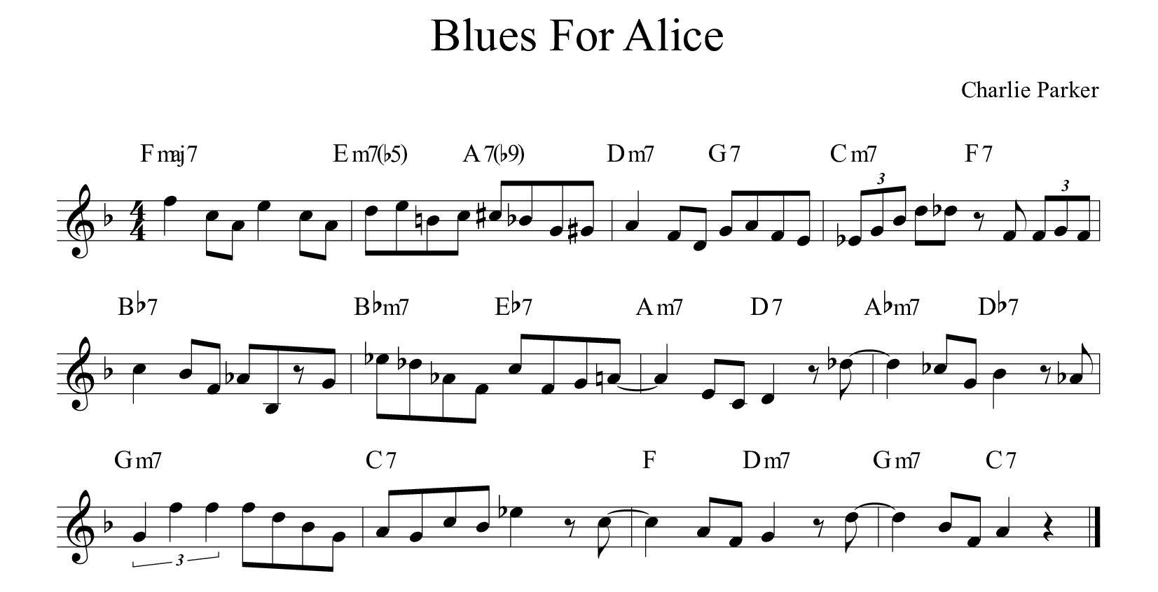 Blues-For-Alice-Charlie-Parker-BLUES 12 misure