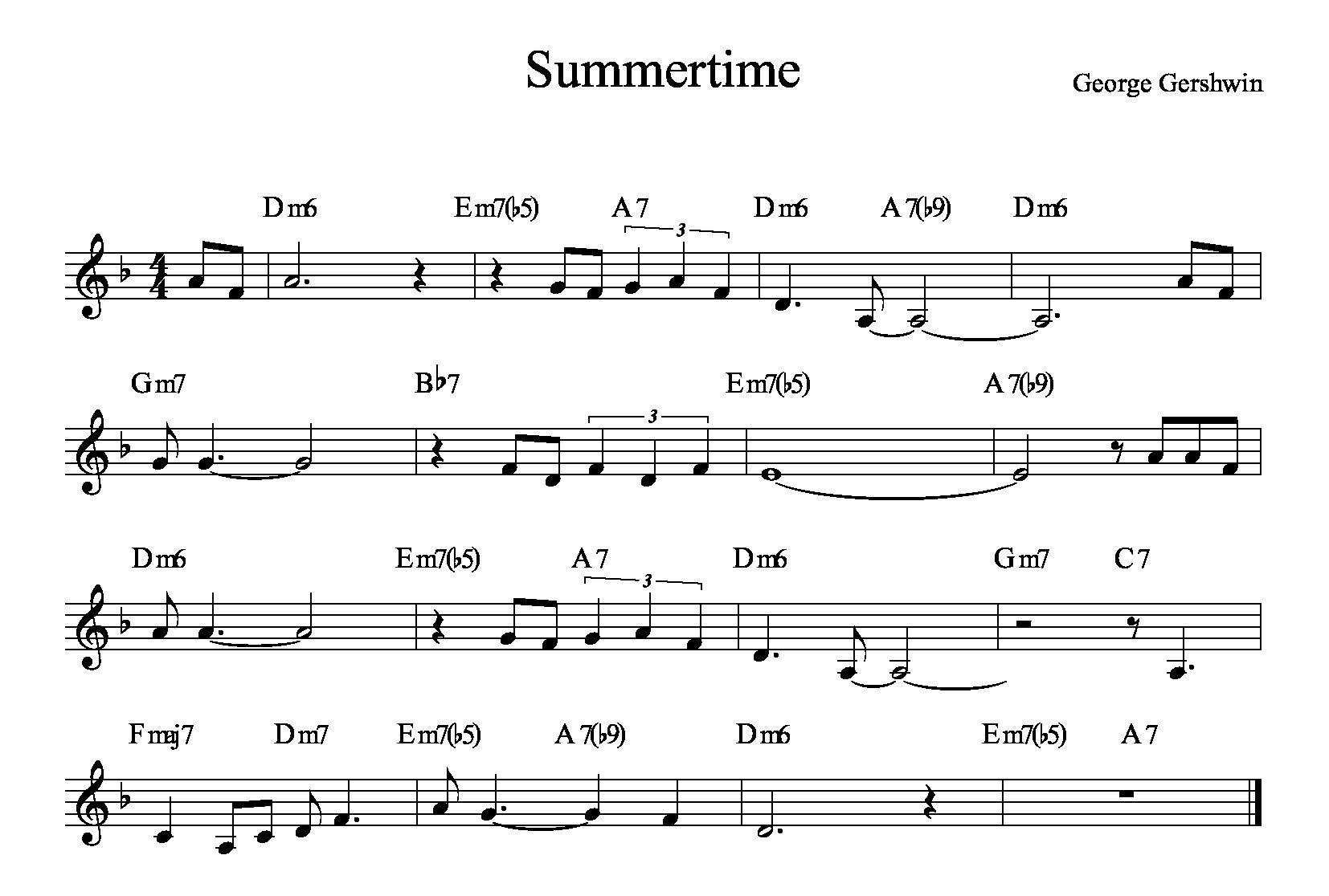 Summertime-George-Gershwin-AABA-16-misure